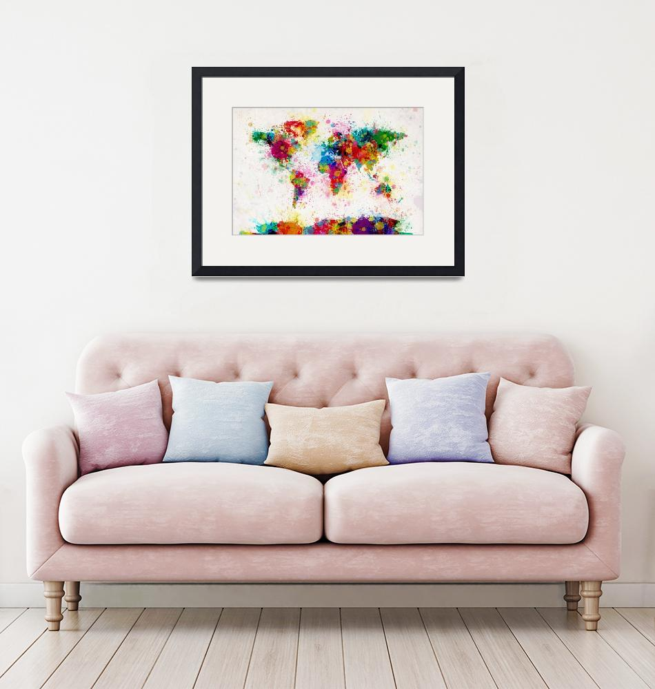 """World Map Paint Drops""  (2011) by ModernArtPrints"