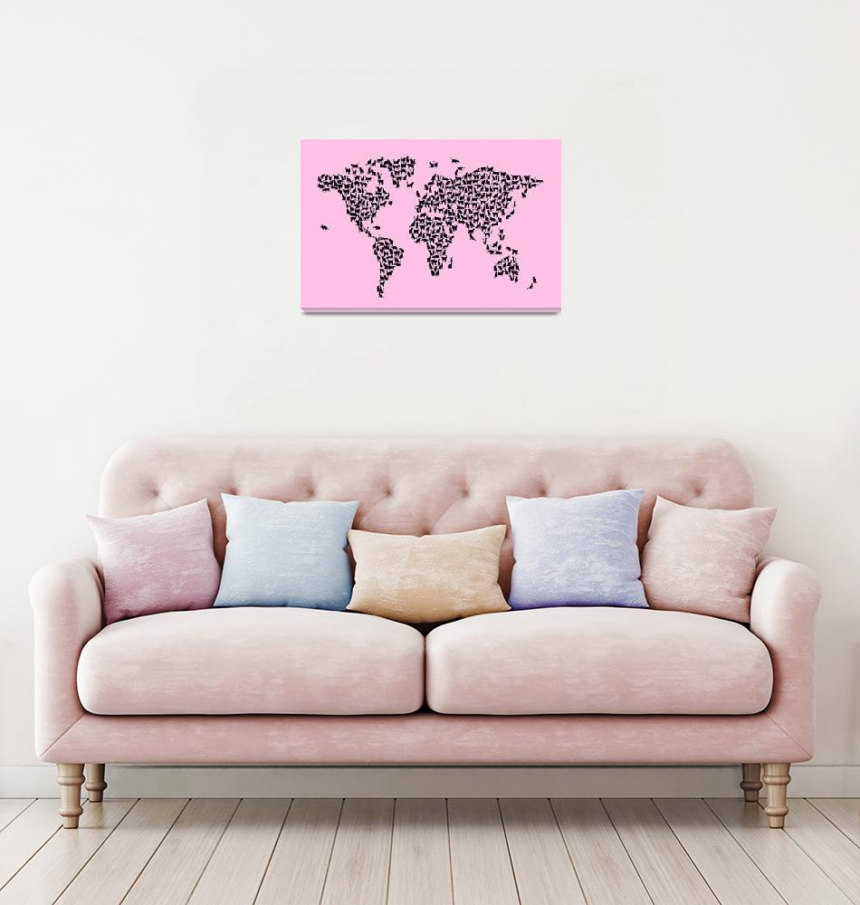 """Cats Map of the World Map""  (2017) by ModernArtPrints"