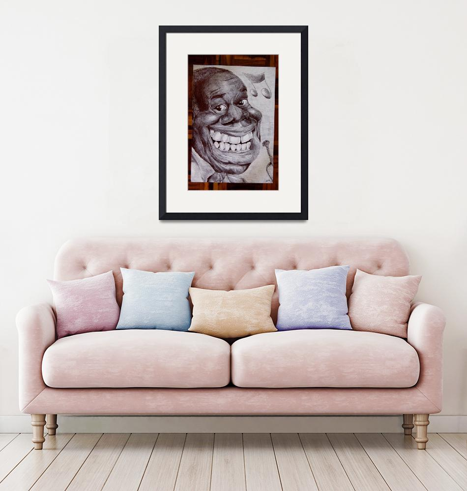 """""""Louis Armstrong caricature""""  (2010) by lufreesz"""