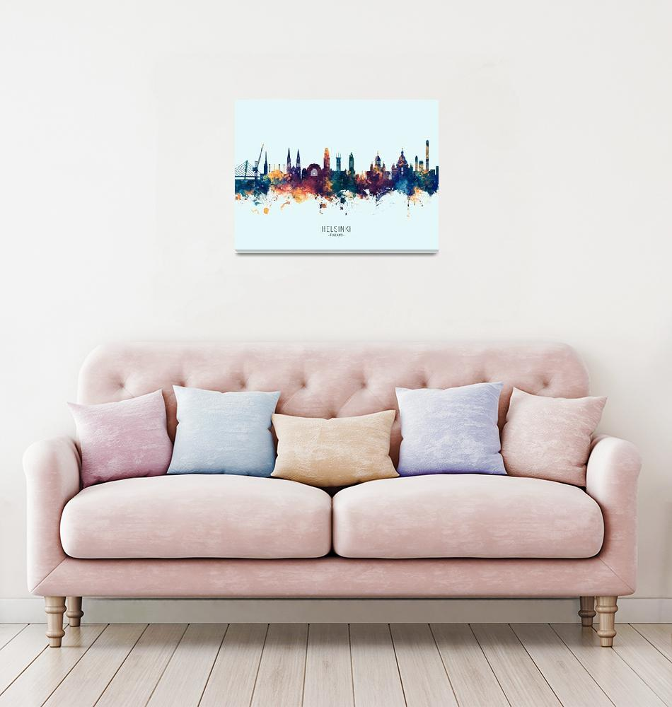 """Helsinki Finland Skyline""  (2019) by ModernArtPrints"