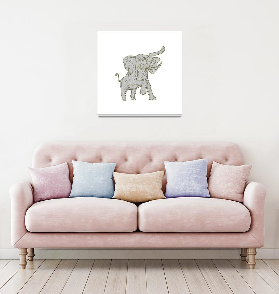 """African Elephant Prancing Mono Line""  (2017) by patrimonio"