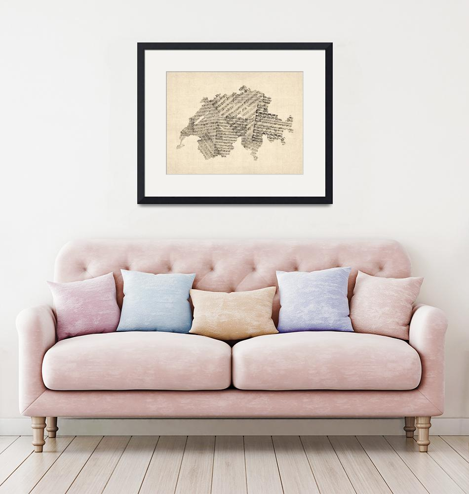 """Old Sheet Music Map of Switzerland Map""  by ModernArtPrints"