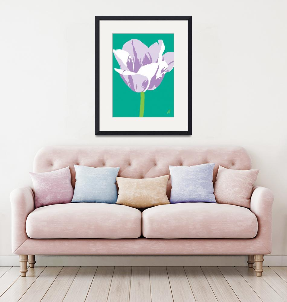 """Tulip on teal""  (2000) by Joanne_Hus_Studios"