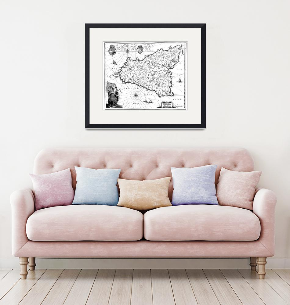 """Vintage Map of Sicily Italy (1600s) BW""  by Alleycatshirts"