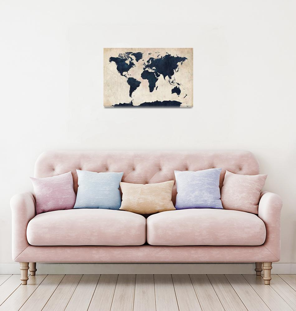 """World Map Distressed Navy""  (2011) by ModernArtPrints"