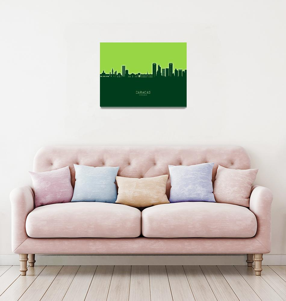 """Caracas Venezuela Skyline""  (2020) by ModernArtPrints"