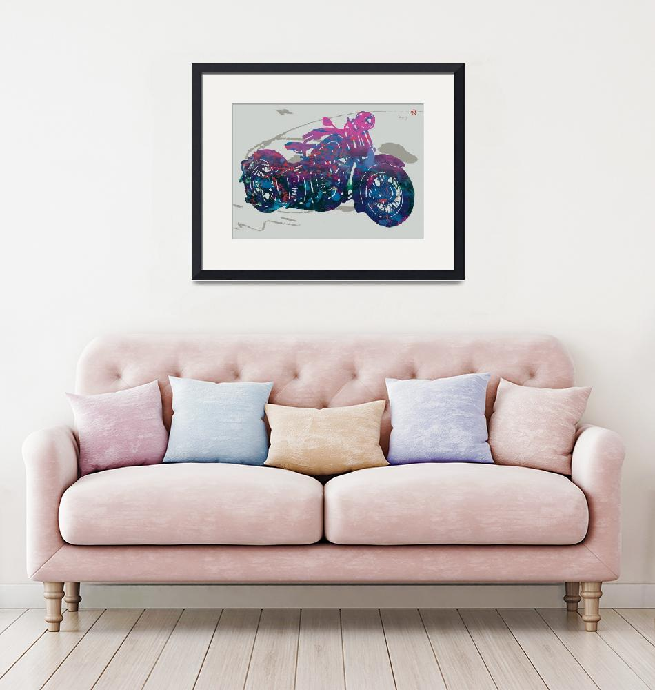"""Stylised Motorcycle Art Sketch Poster""  (2015) by visualharbour"