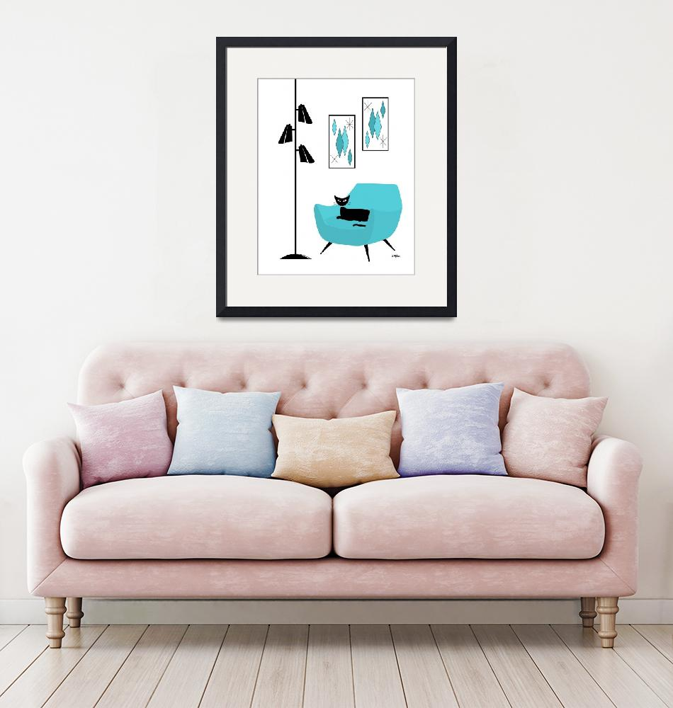 """""""Mid Century Blue Chair with Diamond Art""""  by DMibus"""