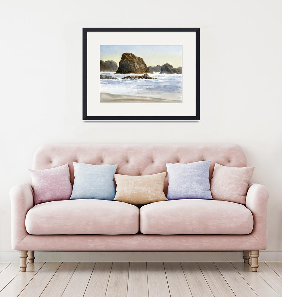 """Beach with Waves and Rocks""  (2015) by Pacific-NW-Watercolors"