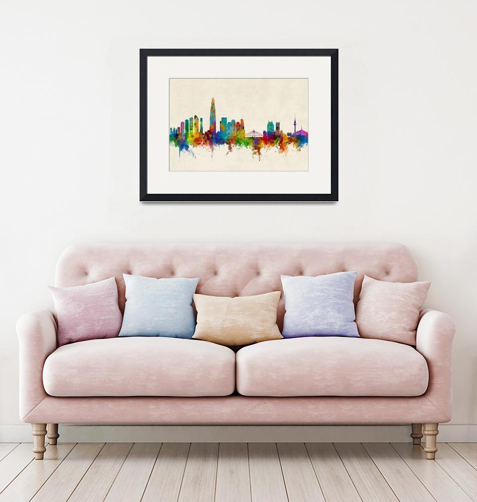 """Seoul Skyline South Korea""  (2017) by ModernArtPrints"