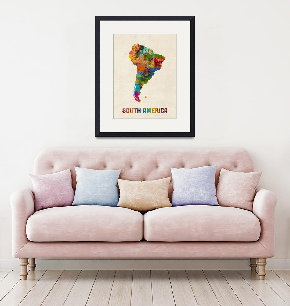 """South America Watercolor Map""  (2016) by ModernArtPrints"