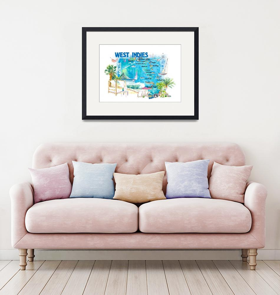 """""""West Indies Illustrated Travel Map with Leeward an""""  (2021) by arthop77"""