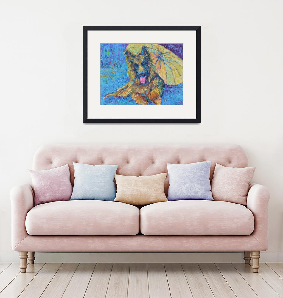 """Golden Retriever Best Dog Ever Pet Painting""  (2018) by Maggy"