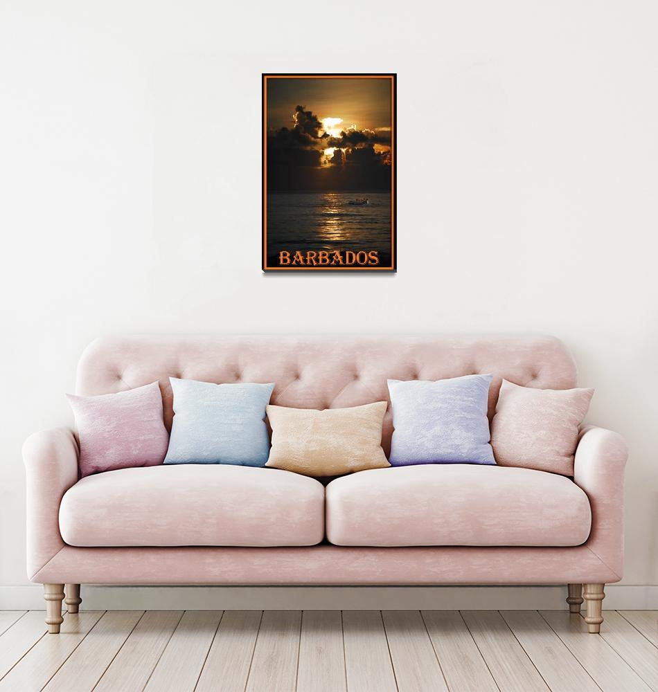"""sunriseboat BARBADOS POSTER border""  (2007) by Rogermarshall"