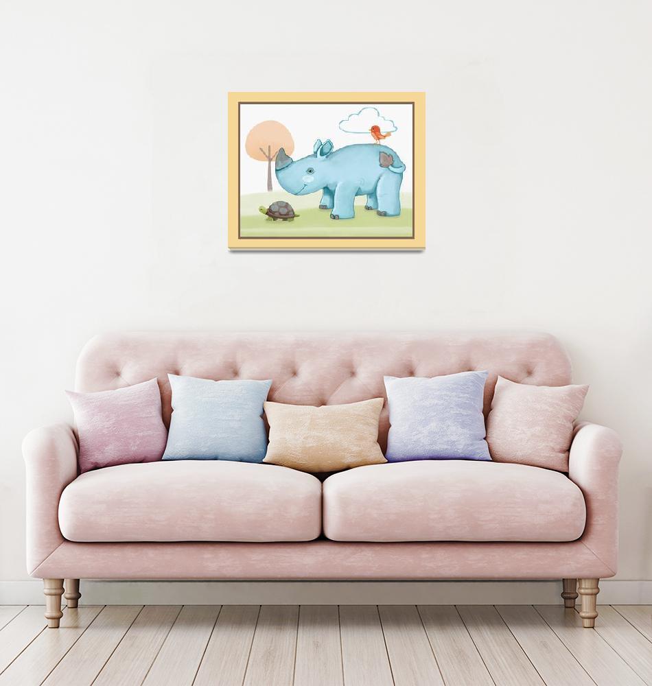 """""""Giraffe Safari Collection - Rhino""""  (2019) by Littlepig"""