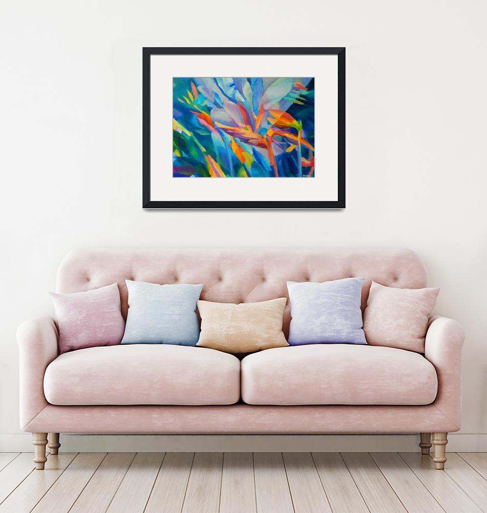 """Abstract Flowers Floral Plants Garden Blue Orange""  (2016) by Maggy"