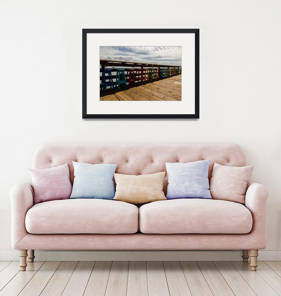 """""""Avila Beach Pier Multicolored seating""""  by JohnDaly"""