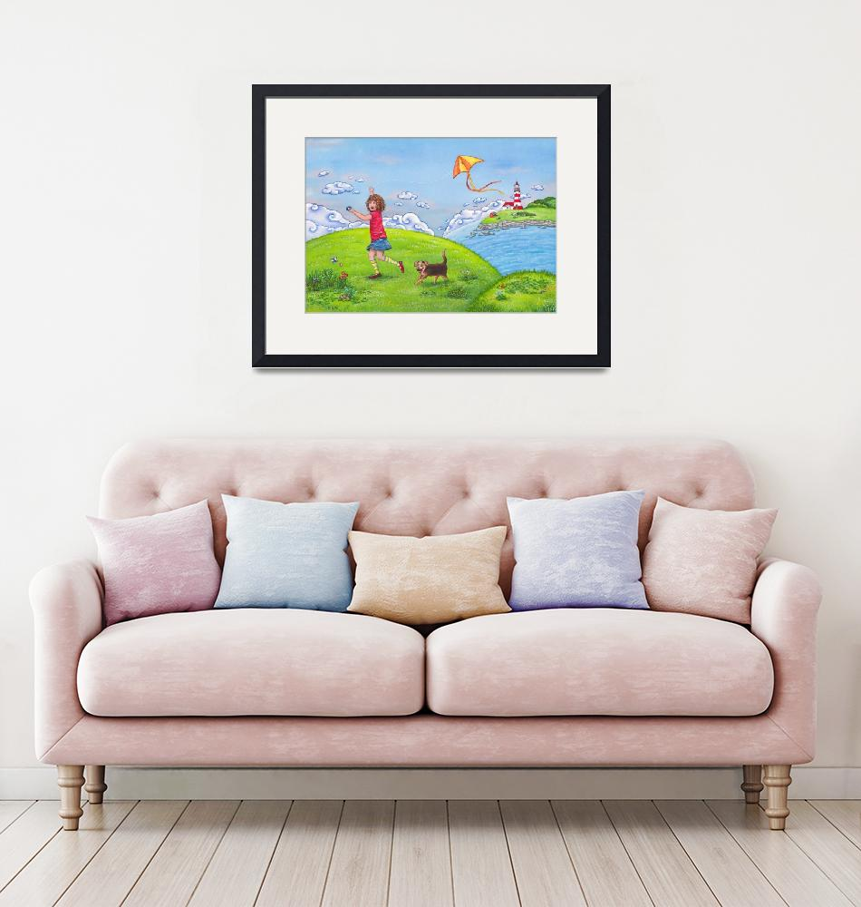 """""""Childrens room art with Girl on a Sunny Summer Day"""" (2011) by nopiepan"""