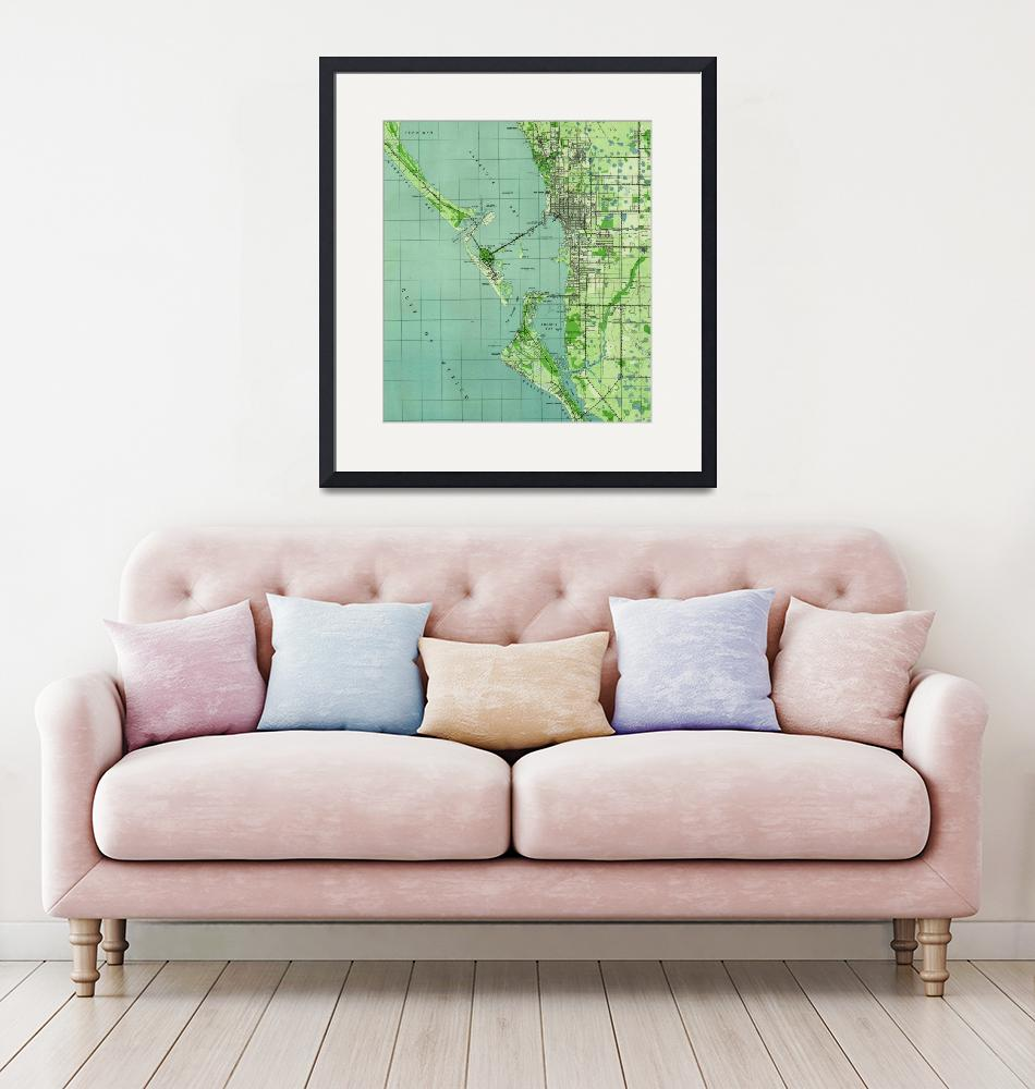 """Vintage map of Sarasota Florida (1944)"" by Alleycatshirts"