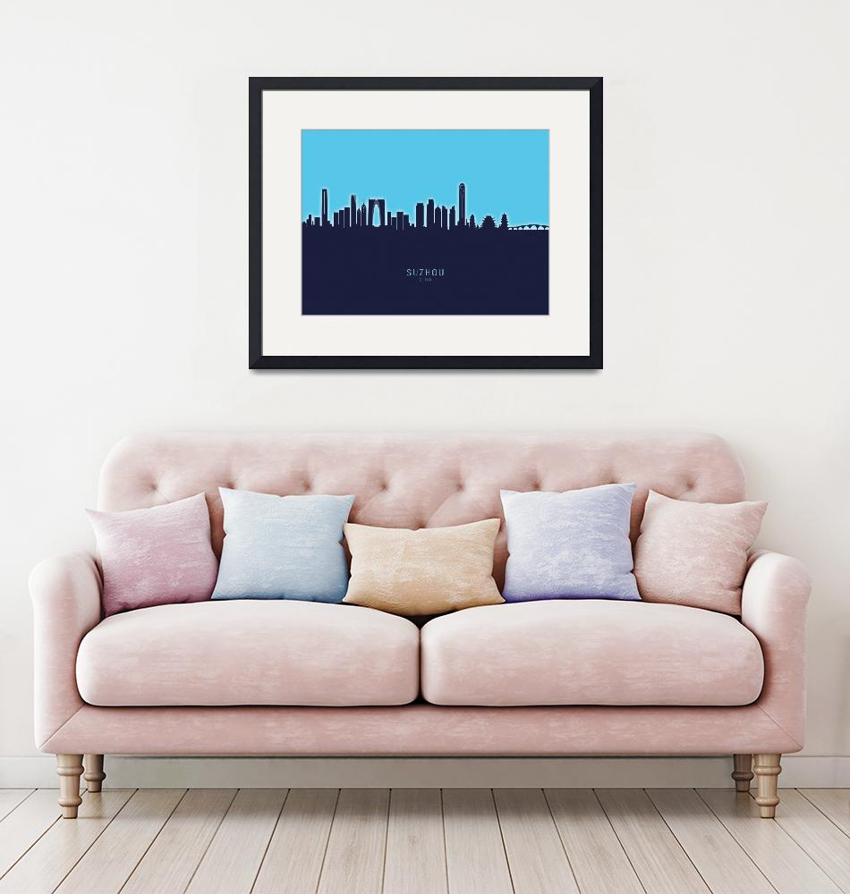 """Suzhou China Skyline""  (2020) by ModernArtPrints"