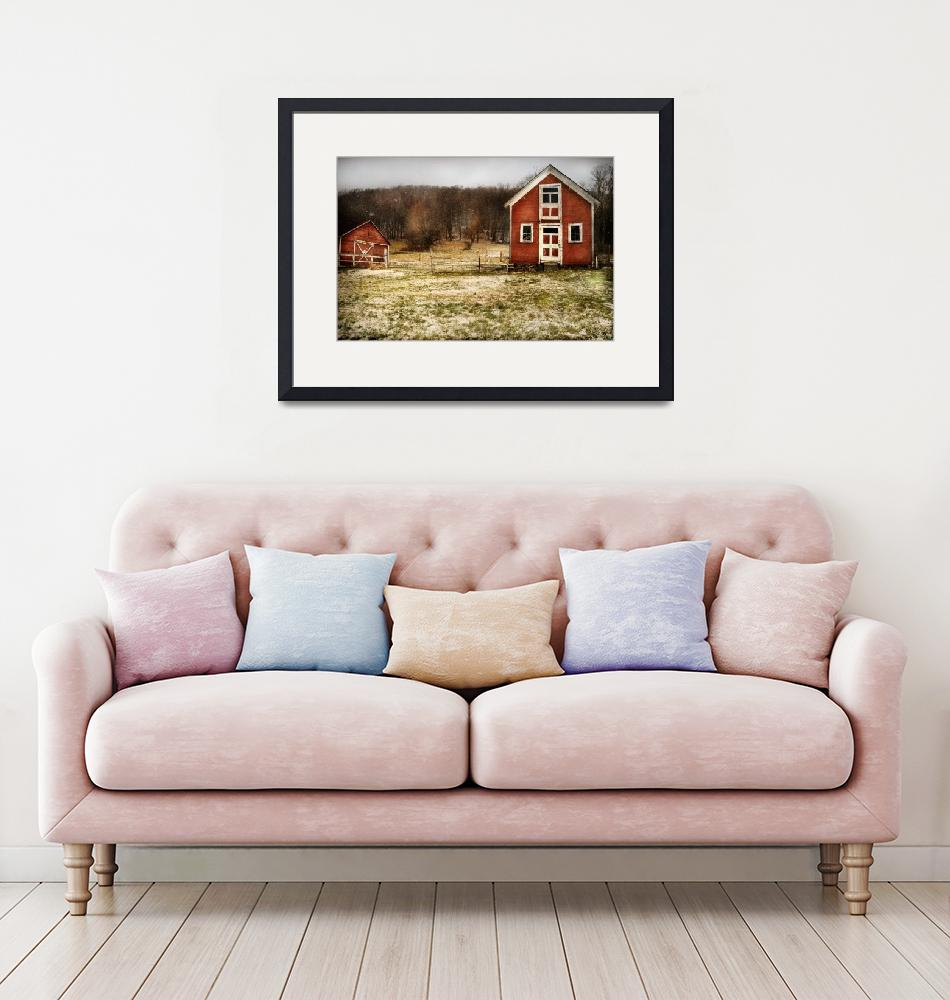 """Red Farmhouse and Barn in Snowy Field""  (2019) by cattanphoto"