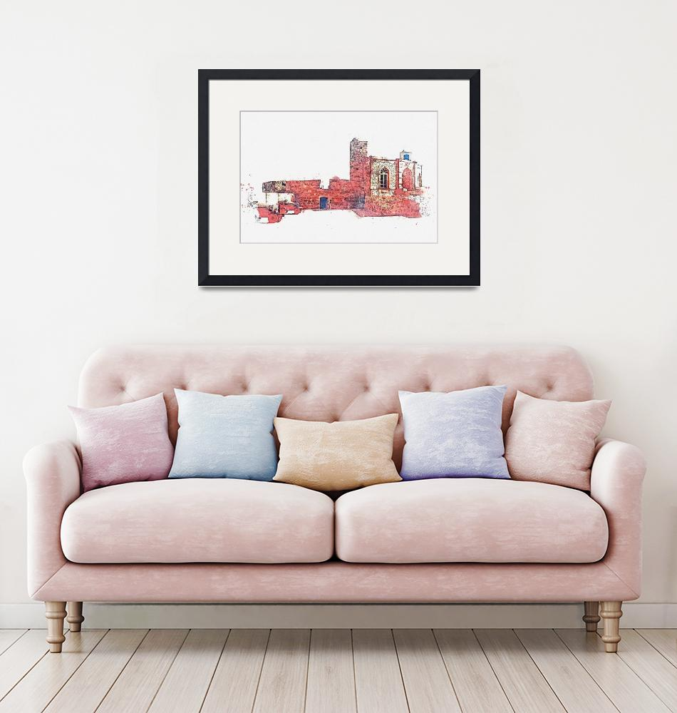 """Fortress, Essaouira, Morocco -  watercolor by Adam""  by motionage"