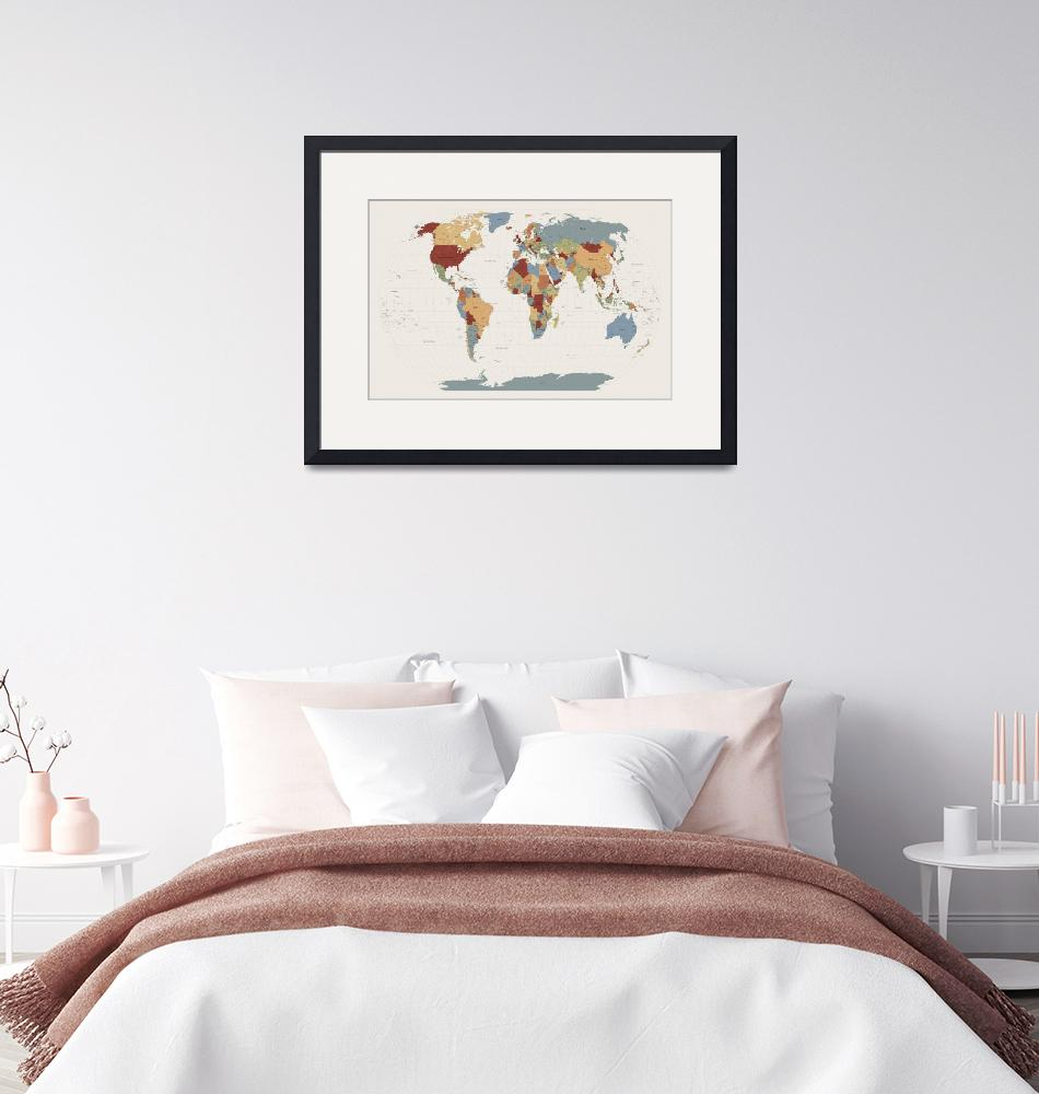 """World Map Muted Colors""  (2011) by ModernArtPrints"