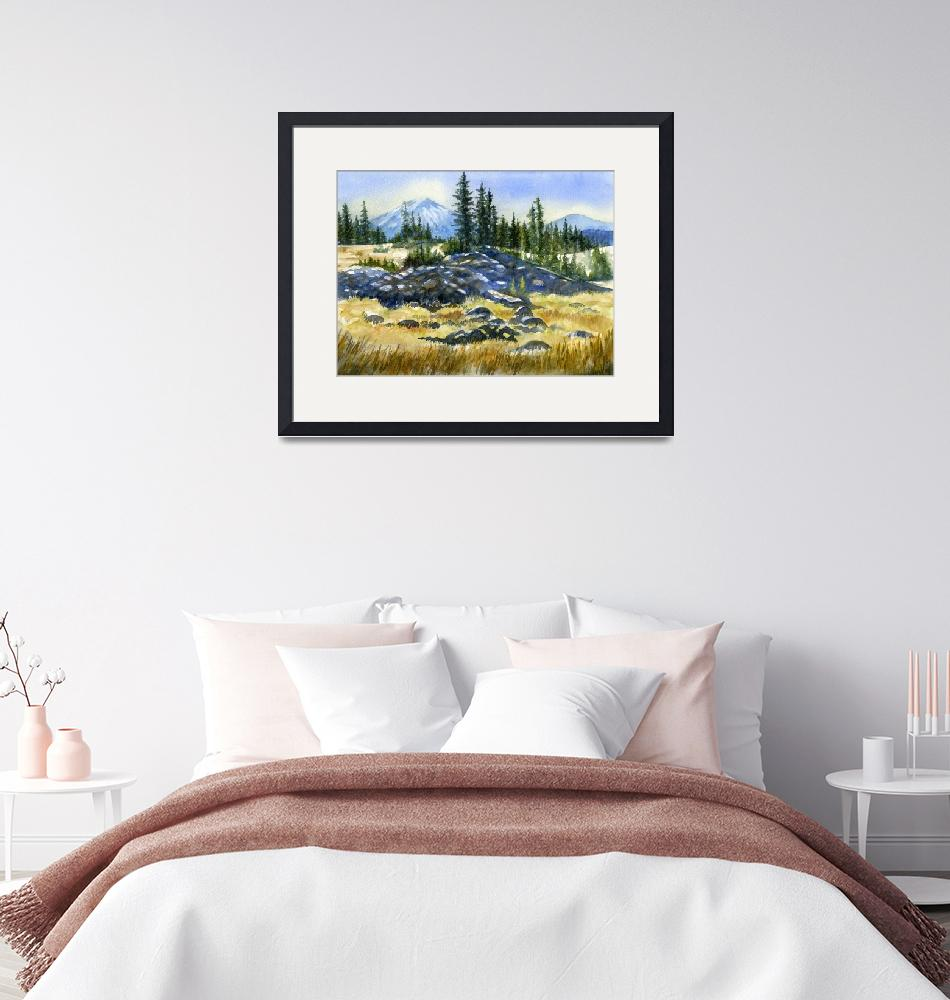 """""""Mount Bachelor View""""  (2010) by Pacific-NW-Watercolors"""