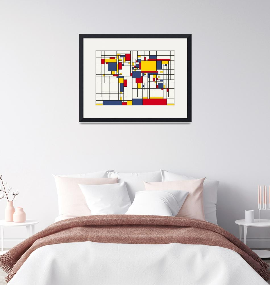 """World Map Abstract Mondrian Style""  (2011) by ModernArtPrints"