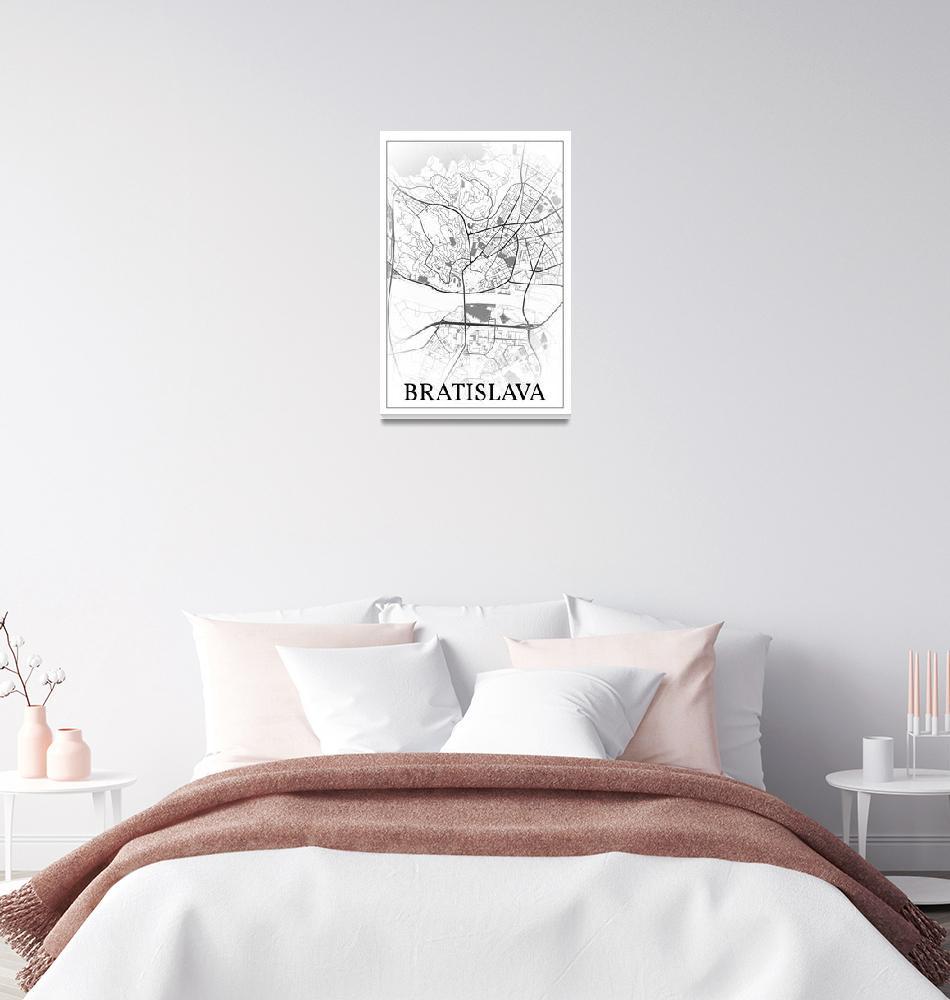 """Bratislava, Slovakia, city map print.""  by dandistudio"