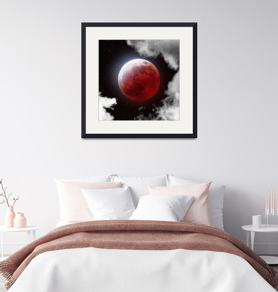 """""""Blood Moon with Clouds""""  by cosmic_background"""