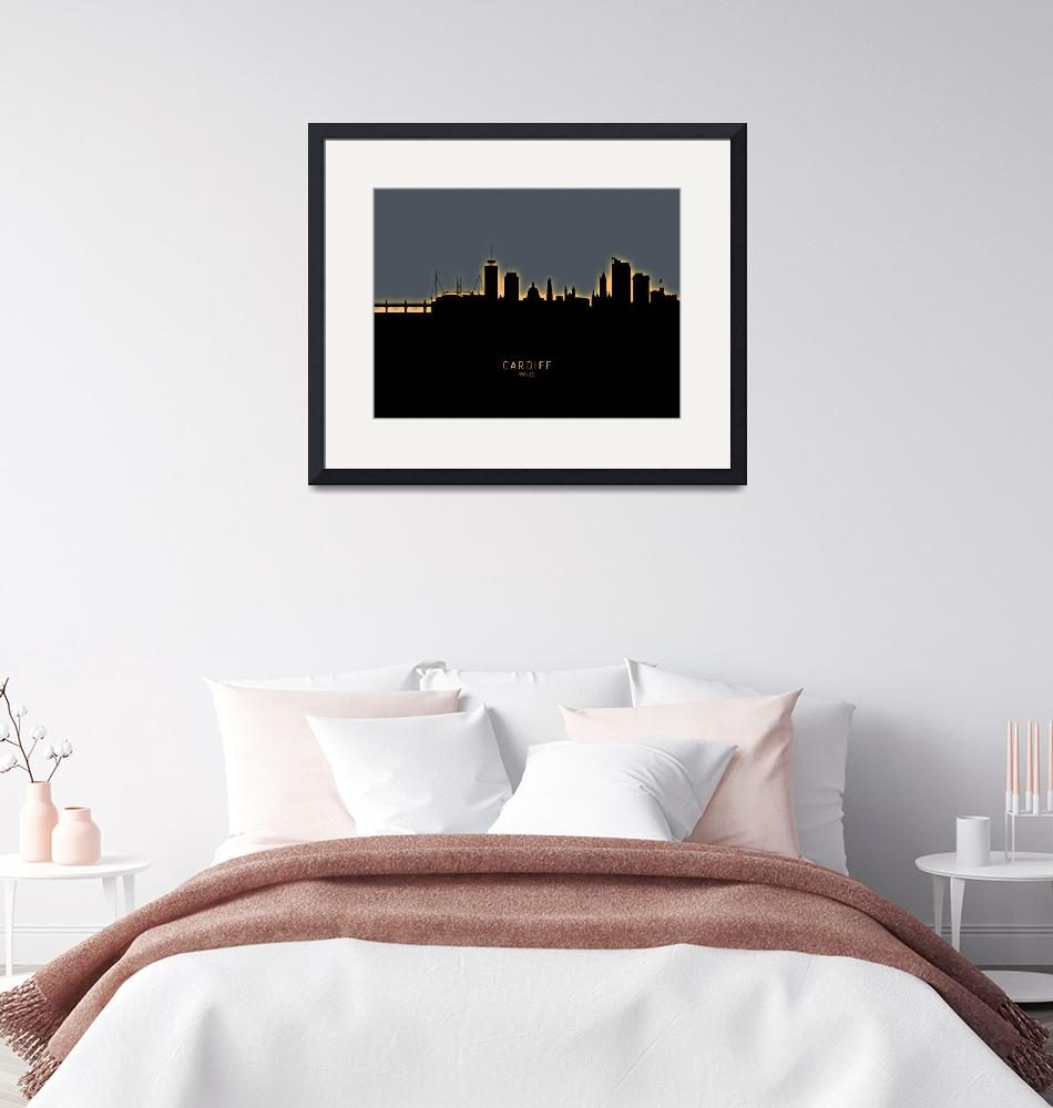 """Cardiff Wales Skyline""  (2019) by ModernArtPrints"