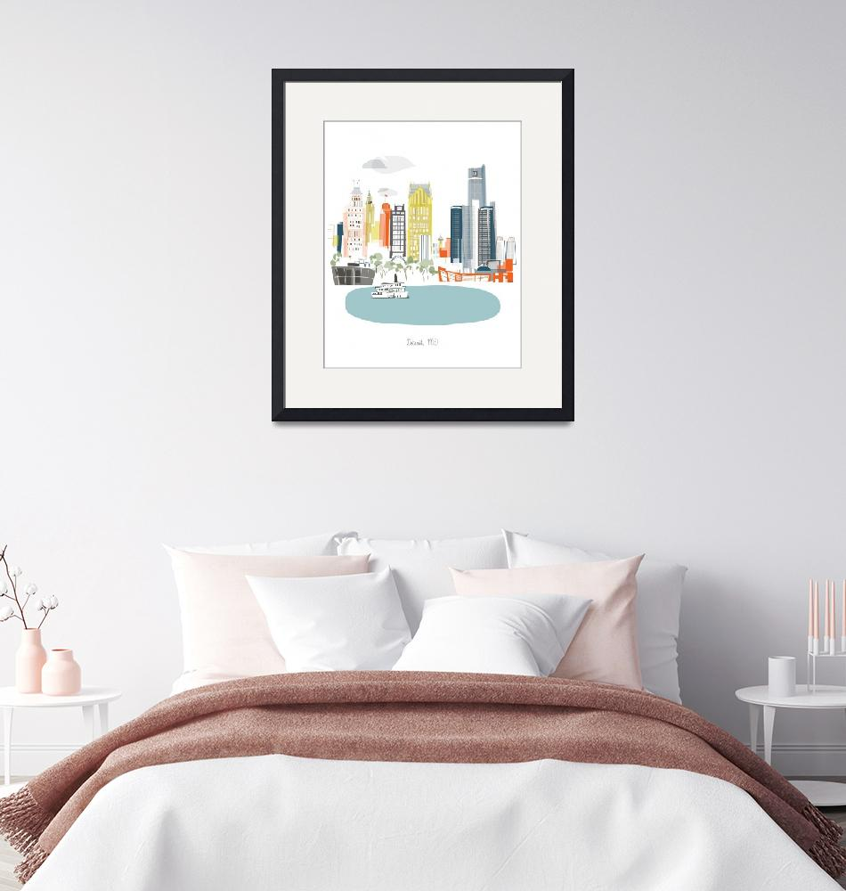 """Detroit Modern Cityscape Illustration""  by AlbieDesigns"