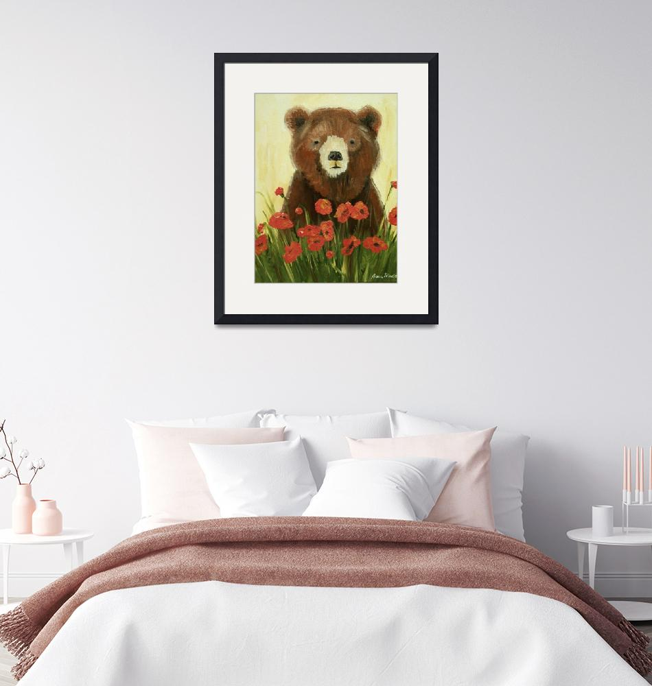 """Bear In Poppies""  (2010) by rebeccamudd"