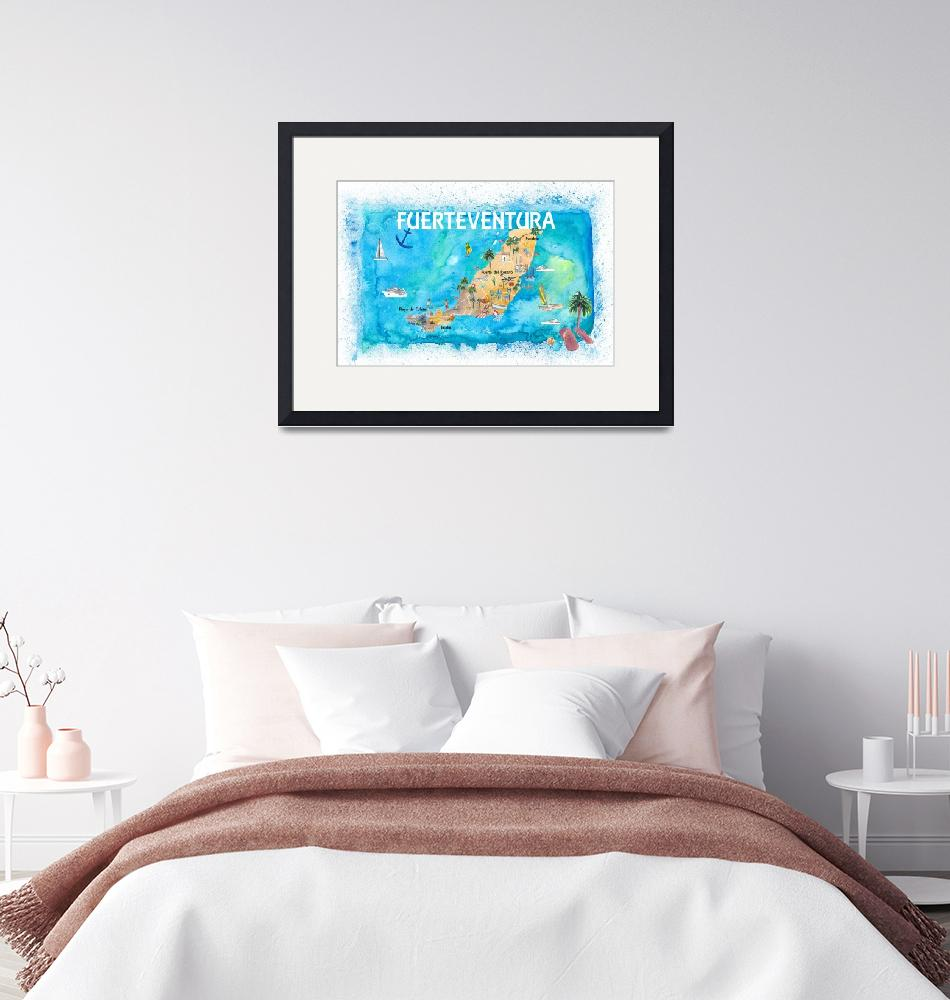 """Fuerteventura Canarias Spain Illustrated Map with""  (2020) by arthop77"