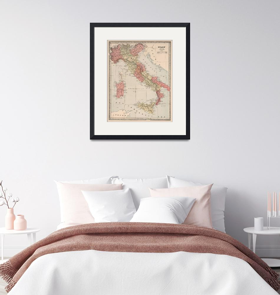 """Vintage Map of Italy (1883)""  by Alleycatshirts"