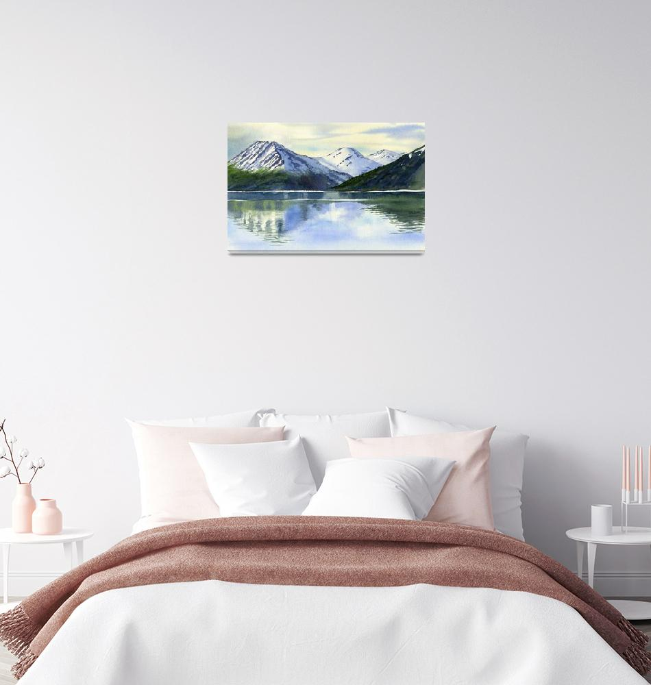 """""""Alaska Mountain Reflections Turnagain Arm""""  (2012) by Pacific-NW-Watercolors"""