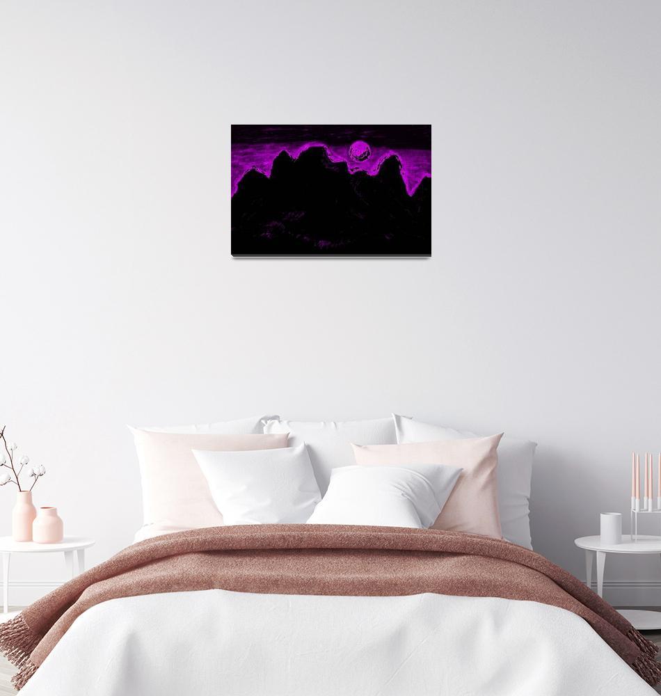 """Moon Glow Over The Cascades In Pink 2""  by Atlantis-Seeker-Art"