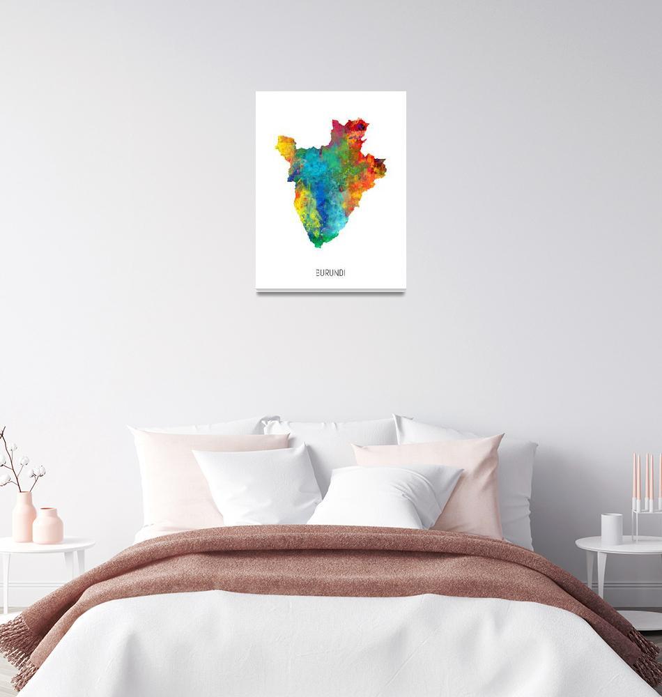 """Burundi Watercolor Map""  (2019) by ModernArtPrints"