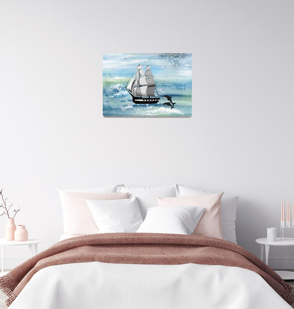 """""""Sailing with dolphins""""  by Design4uStudio"""