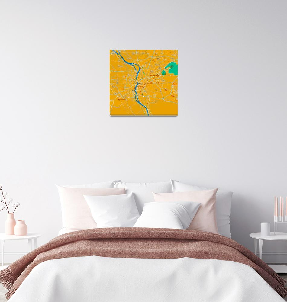 """Minimalist Modern Map of Cairo, Egypt 2"" by motionage"
