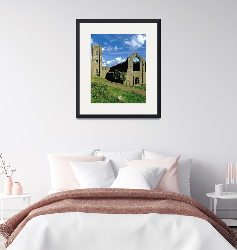 """Fountains Abbey in Summer 12"" (1990) by PriscillaTurner"