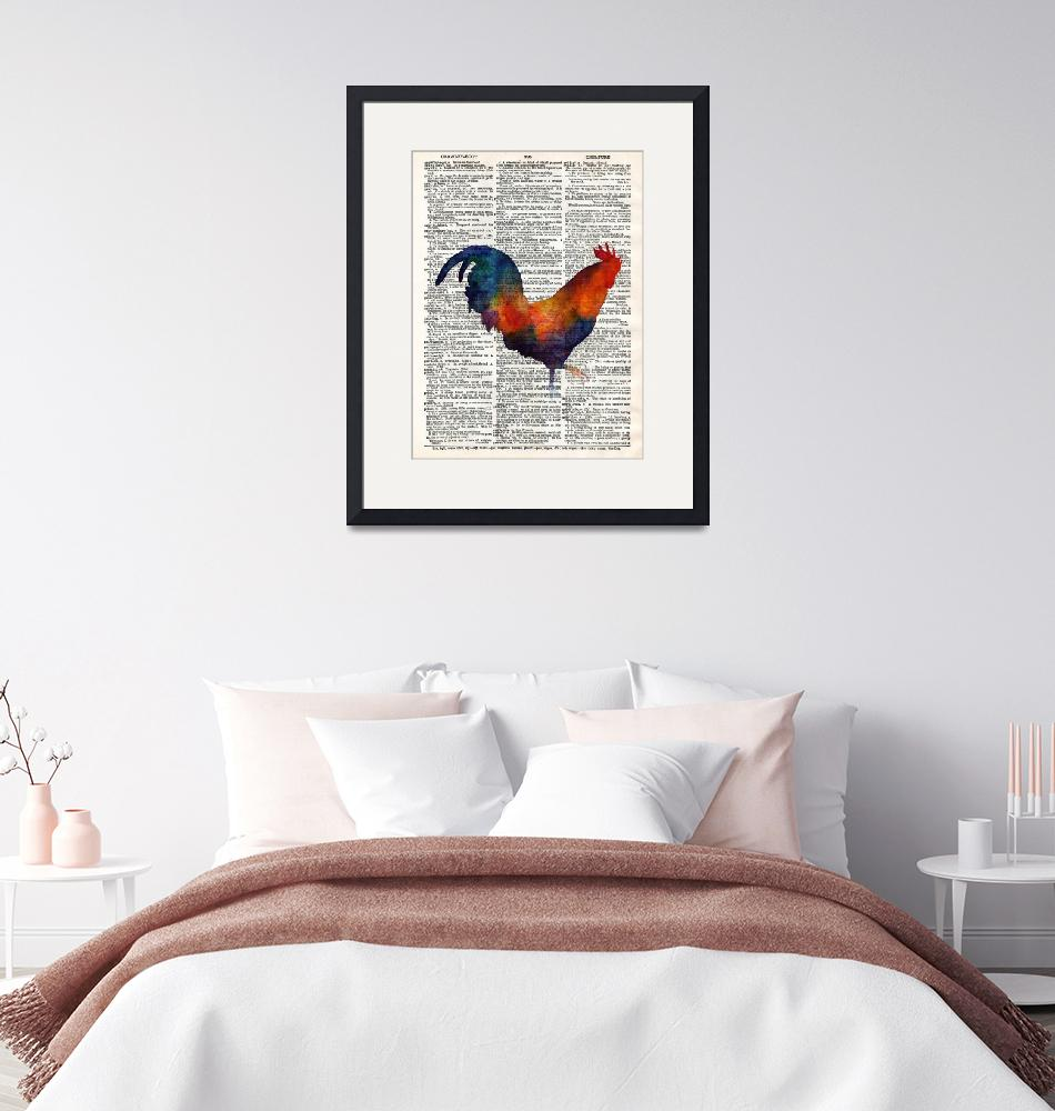 """Colorful Rooster on Vintage Dictionary"" by HaileyWatermedia"