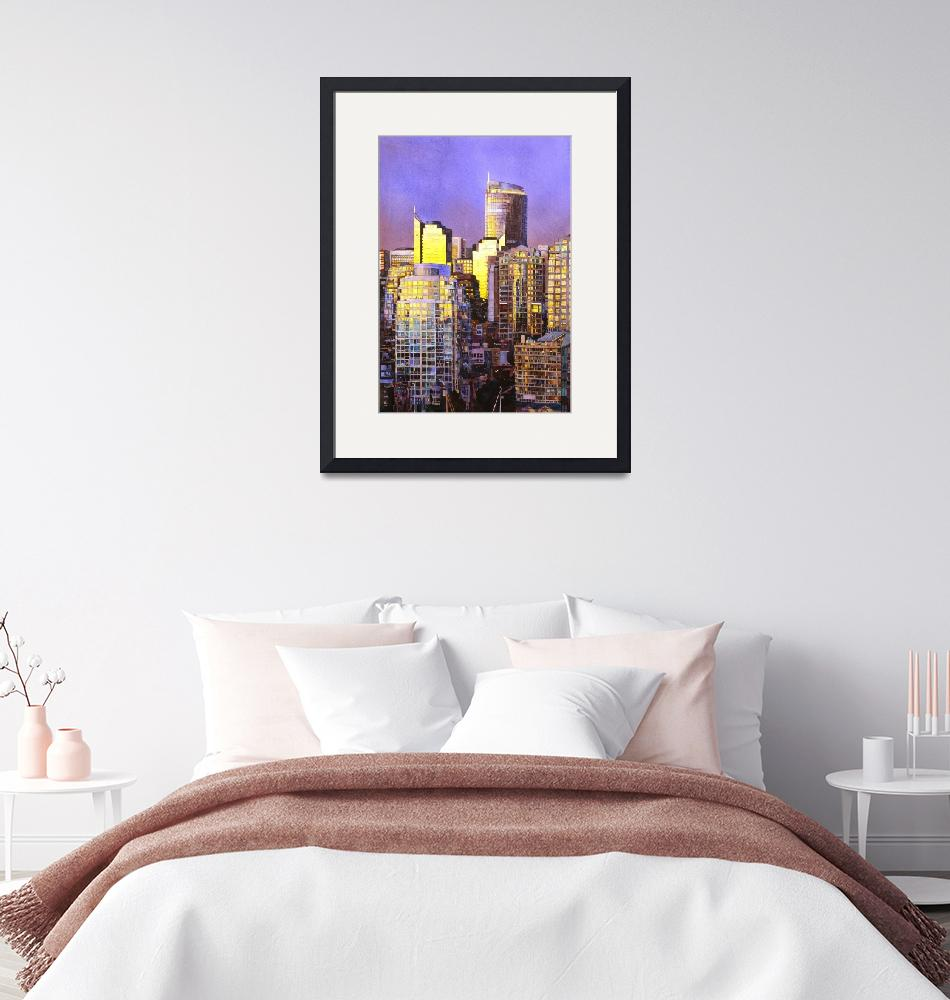 """Watercolor painting of skyscrapers- Vancouver, BC""  (2014) by RFoxWatercolors"