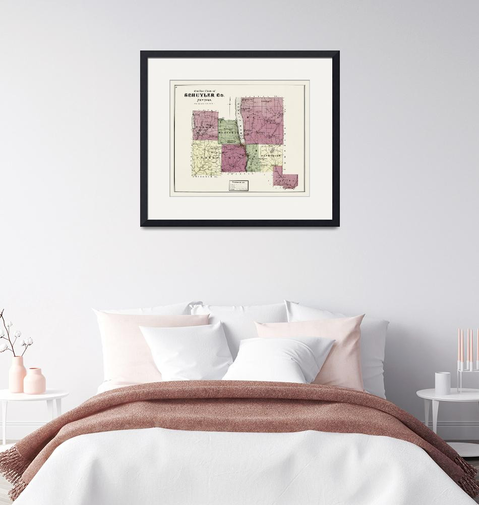 """Schuyler County 1874 Restored Historic Map""  (2020) by WilshireImages"