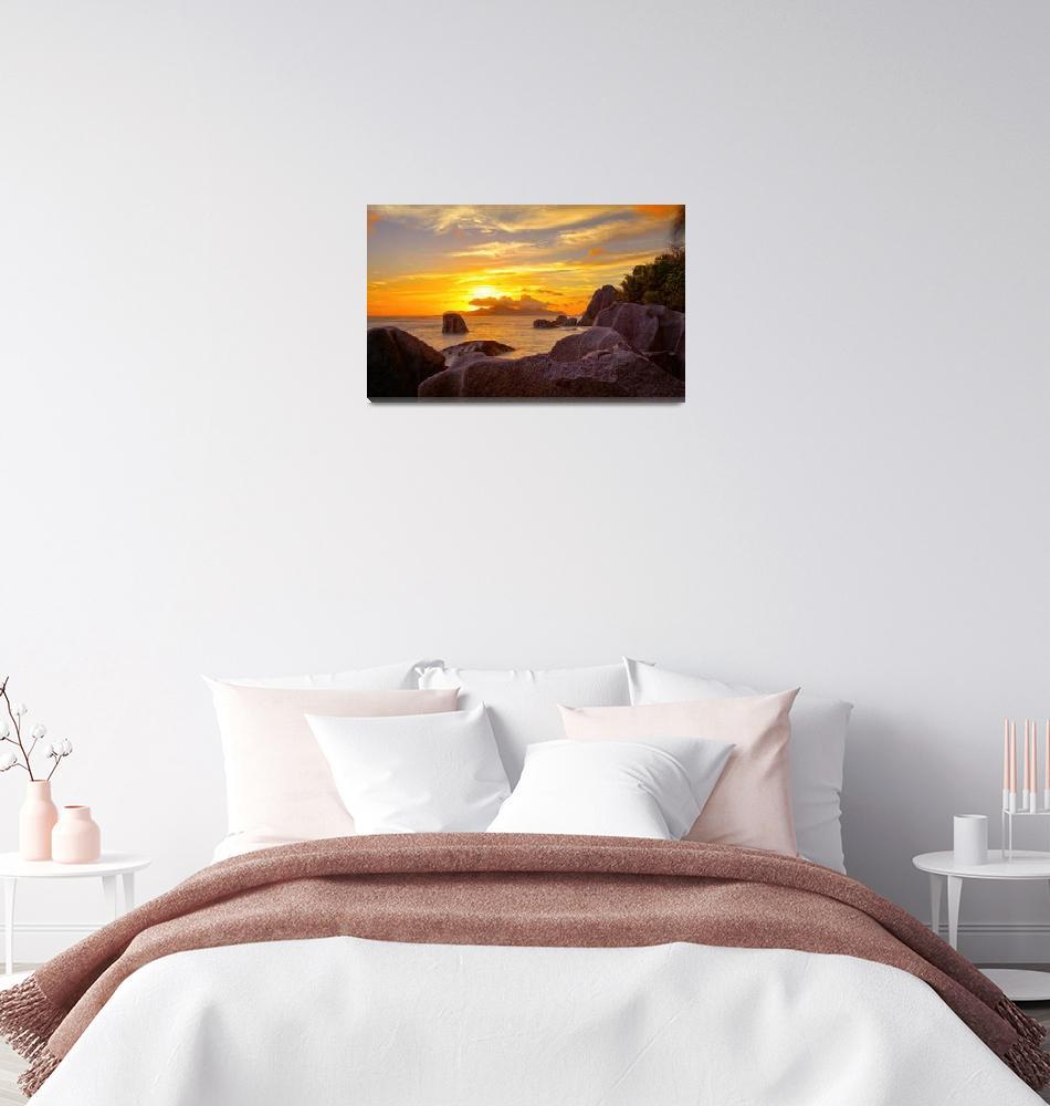 """sunset on seychelles""  (2011) by photoplace"
