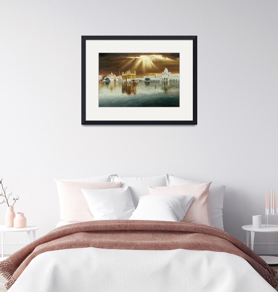 """""""Golden Temple Sunset Painting""""  by SikhPhotos"""