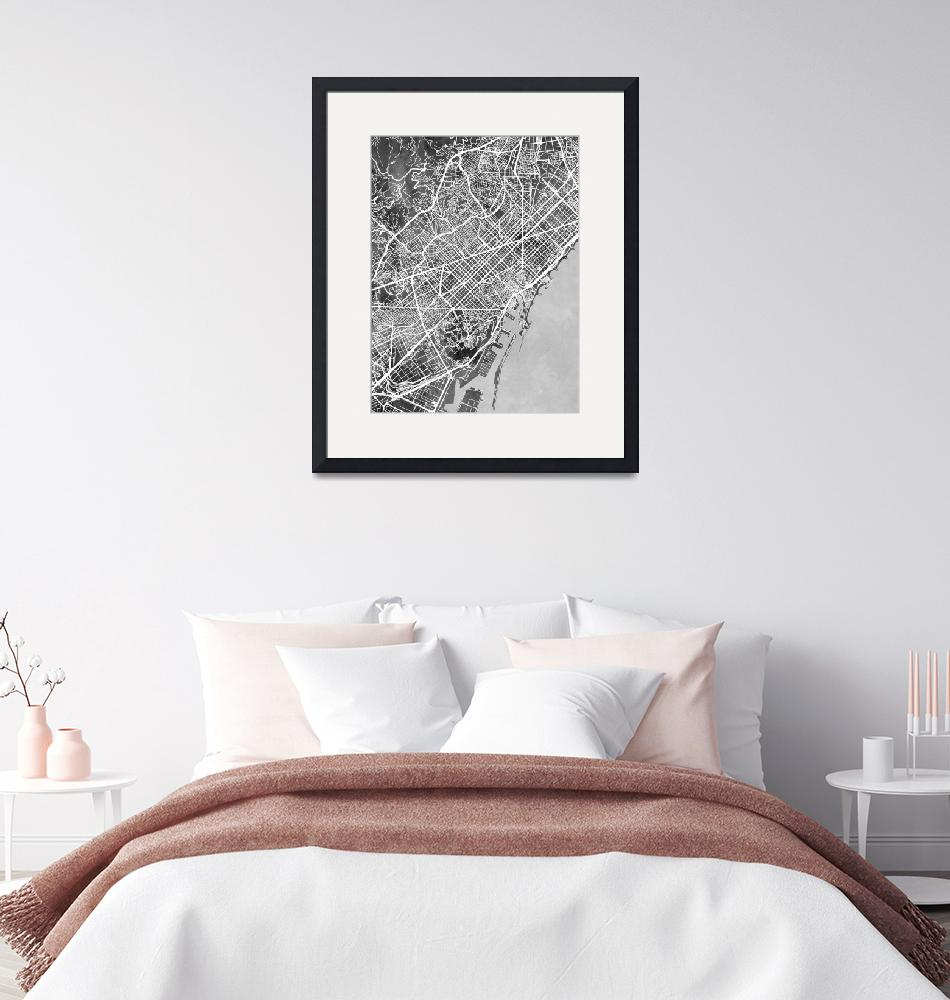 """Barcelona Spain City Map""  (2019) by ModernArtPrints"
