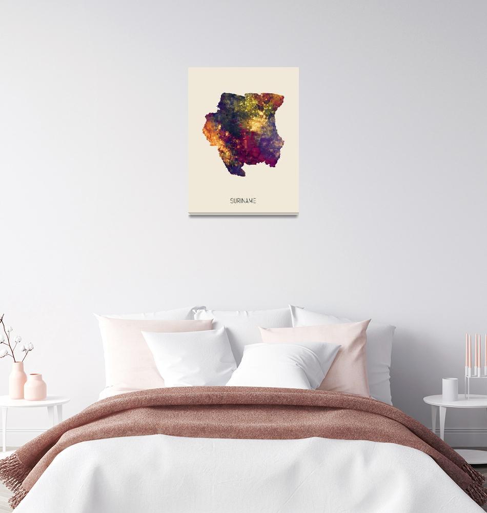 """Suriname Watercolor Map""  (2019) by ModernArtPrints"