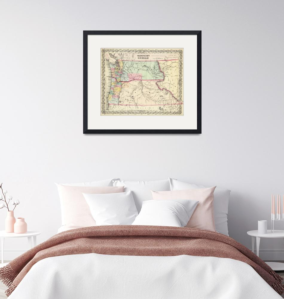 """""""Vintage Map of Washington and Oregon (1856)""""  by Alleycatshirts"""